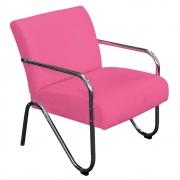 Poltrona Decorativa Sara Pés Cromado Corano Pink - Doce Sonho Móveis