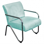 Poltrona Decorativa Sara Pés Cromado Suede Azul Tiffany - Doce Sonho Móveis