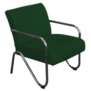Poltrona Decorativa Sara Pés Cromado Suede Verde - Doce Sonho Móveis