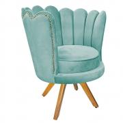 Poltrona Pétala Base Giratória de Madeira Suede Azul Tiffany - Doce Sonho Móveis