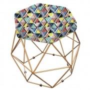 Puff Aramado Bruna Estampado Mosaico Color - Doce Sonho Móveis