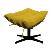 Puff Decorativo Costela Base Giratória Suede Amarelo - Doce Sonho Móveis