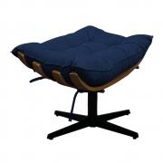 Puff Decorativo Costela Base Giratória Suede Azul Marinho - Doce Sonho Móveis