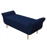 Recamier Estofado Ari 140 cm Casal Suede Azul Marinho - Doce Sonho Móveis