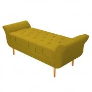 Recamier Estofado Ari 160 cm Queen Size Suede Amarelo - Doce Sonho Móveis