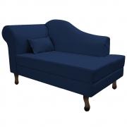 Recamier Rafaela 140cm Lado Direito Suede Azul Marinho - Doce Sonho Móveis