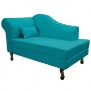 Recamier Rafaela 140cm Lado Direito Suede Azul Turquesa - Doce Sonho Móveis