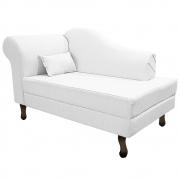 Recamier Rafaela 140cm Lado Direito Suede Branco - Doce Sonho Móveis