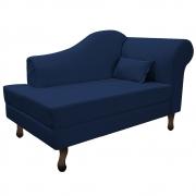Recamier Rafaela 140cm Lado Esquerdo Suede Azul Marinho - Doce Sonho Móveis