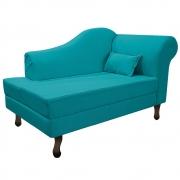 Recamier Rafaela 140cm Lado Esquerdo Suede Azul Turquesa - Doce Sonho Móveis
