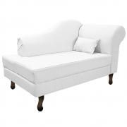 Recamier Rafaela 140cm Lado Esquerdo Suede Branco - Doce Sonho Móveis
