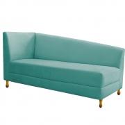 Recamier Valéria 140cm Lado Direito Suede Azul Tiffany- Doce Sonho Móveis