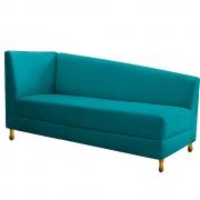 Recamier Valéria 140cm Lado Direito Suede Azul Turquesa - Doce Sonho Móveis