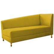 Recamier Valéria 140cm Lado Esquerdo Suede Amarelo - Doce Sonho Móveis
