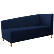 Recamier Valéria 140cm Lado Esquerdo Suede Azul Marinho - Doce Sonho Móveis