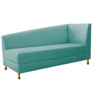 Recamier Valéria 140cm Lado Esquerdo Suede Azul Tiffany- Doce Sonho Móveis