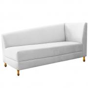 Recamier Valéria 140cm Lado Esquerdo Suede Branco - Doce Sonho Móveis