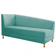 Recamier Valéria 160cm Lado Direito Suede Azul Tiffany - Doce Sonho Móveis