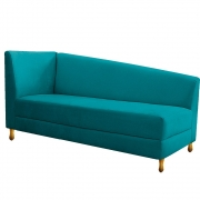 Recamier Valéria 160cm Lado Direito Suede Azul Turquesa - Doce Sonho Móveis
