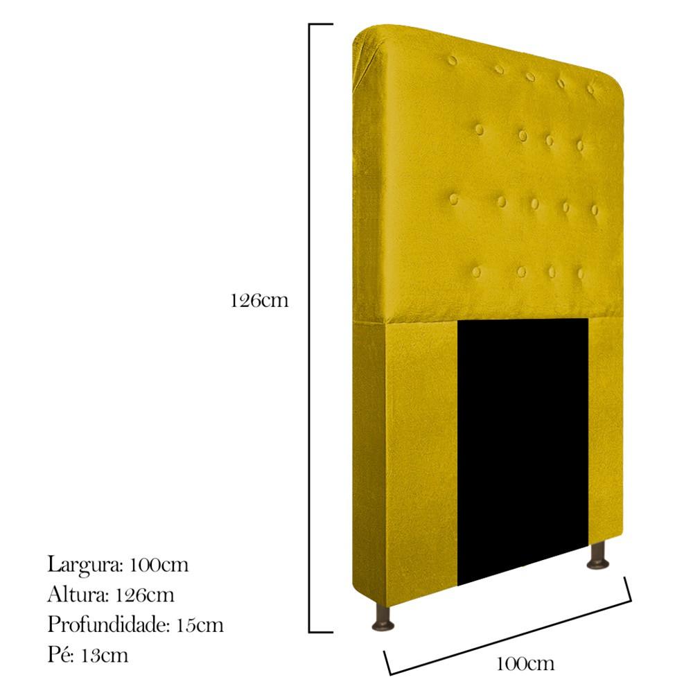Cabeceira Estofada Brenda 100 cm Solteiro Com Botonê Suede Amarelo - Doce Sonho Móveis
