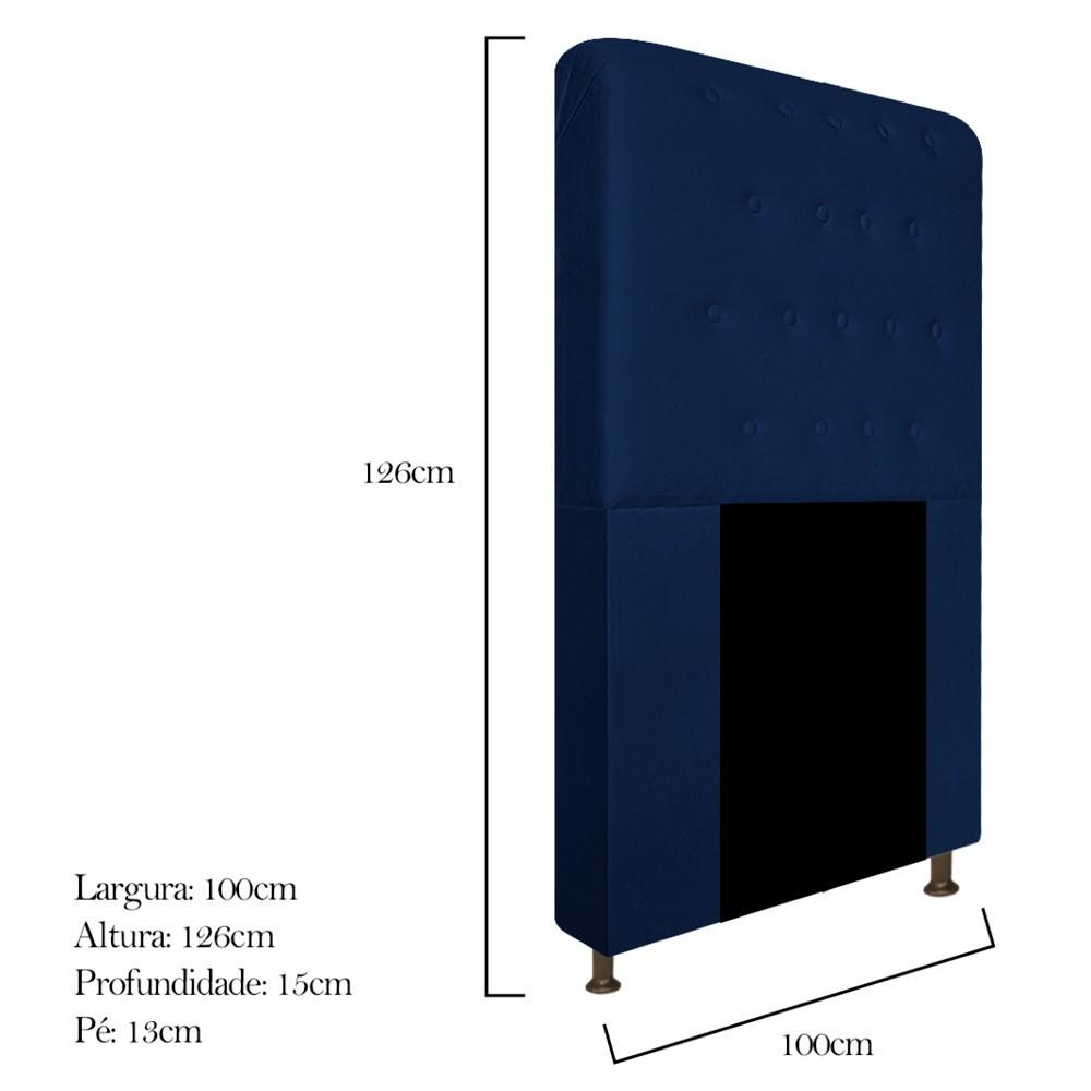 Cabeceira Estofada Brenda 100 cm Solteiro Com Botonê Suede Azul Marinho - Doce Sonho Móveis