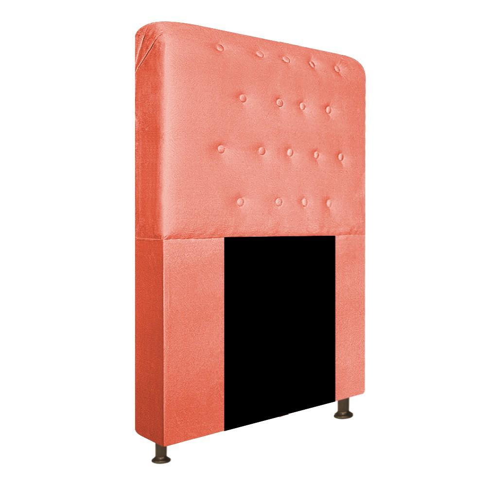 Cabeceira Estofada Brenda 100 cm Solteiro Com Botonê Suede Coral - Doce Sonho Móveis