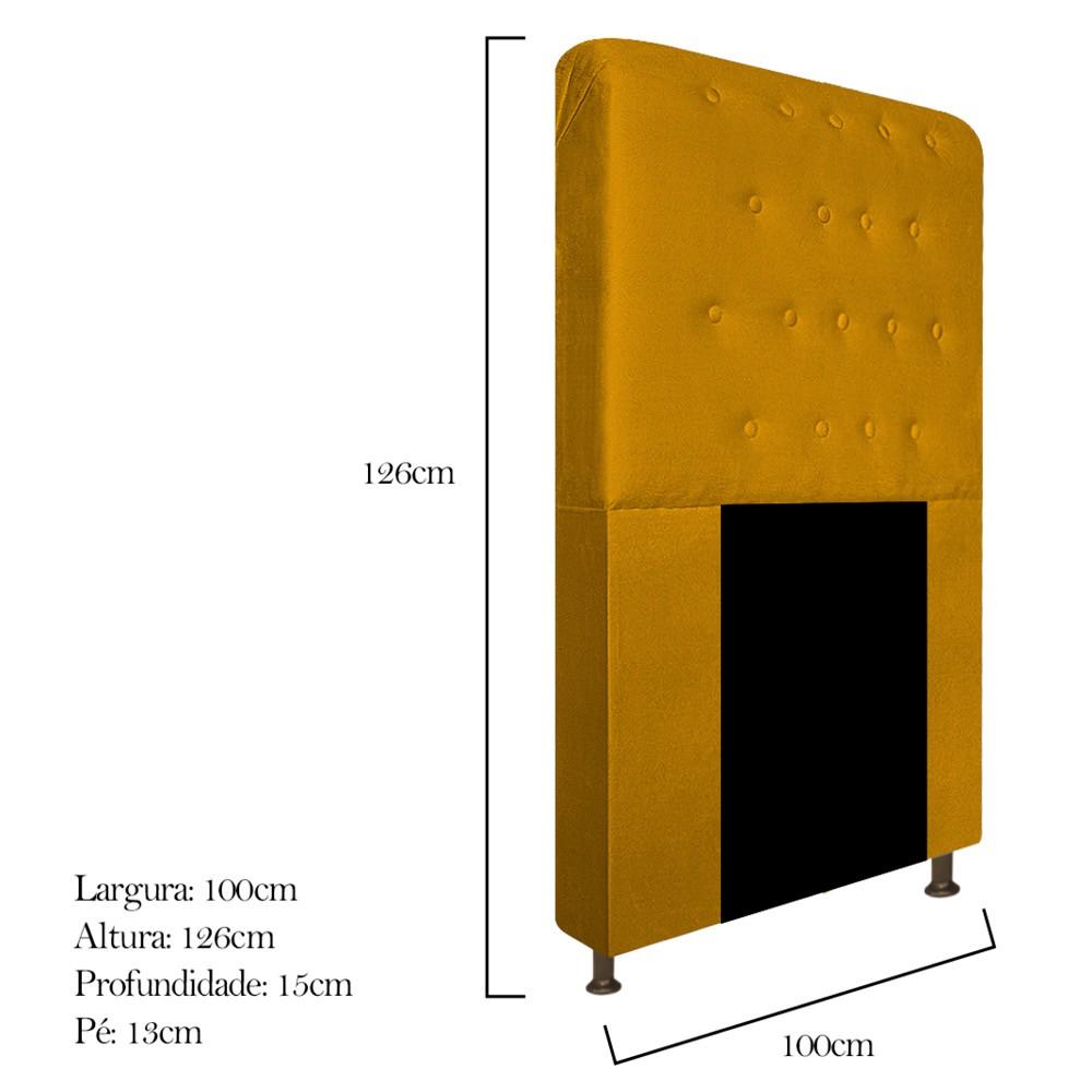 Cabeceira Estofada Brenda 100 cm Solteiro Com Botonê Suede Mostarda - Doce Sonho Móveis