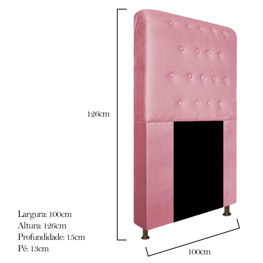 Cabeceira Estofada Brenda 100 cm Solteiro Com Botonê Suede Rosa Bebê - Doce Sonho Móveis