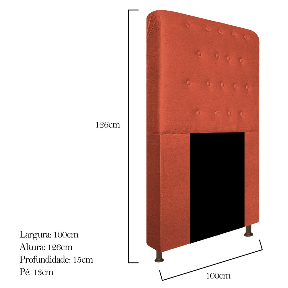 Cabeceira Estofada Brenda 100 cm Solteiro Com Botonê Suede Terracota - Doce Sonho Móveis