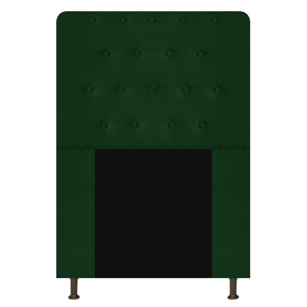 Cabeceira Estofada Brenda 100 cm Solteiro Com Botonê Suede Verde - Doce Sonho Móveis