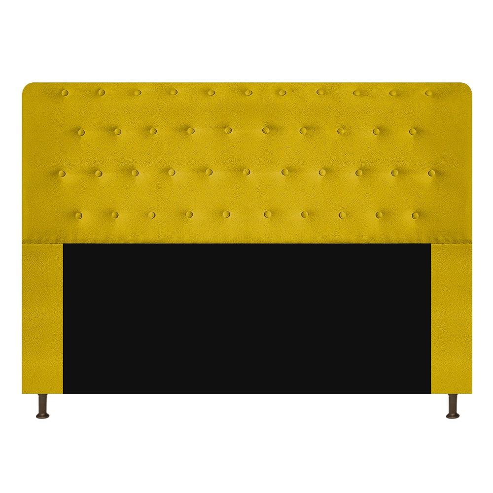 Cabeceira Estofada Brenda 140 cm Casal Com Botonê  Suede Amarelo - Doce Sonho Móveis