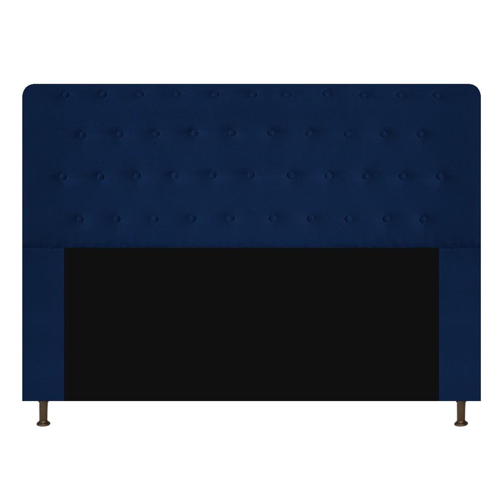Cabeceira Estofada Brenda 140 cm Casal Com Botonê  Suede Azul Marinho - Doce Sonho Móveis