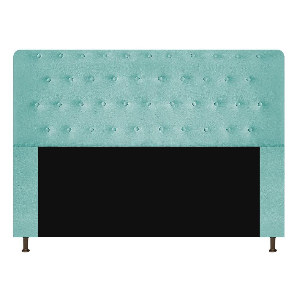 Cabeceira Estofada Brenda 140 cm Casal Com Botonê  Suede Azul Tiffany - Doce Sonho Móveis