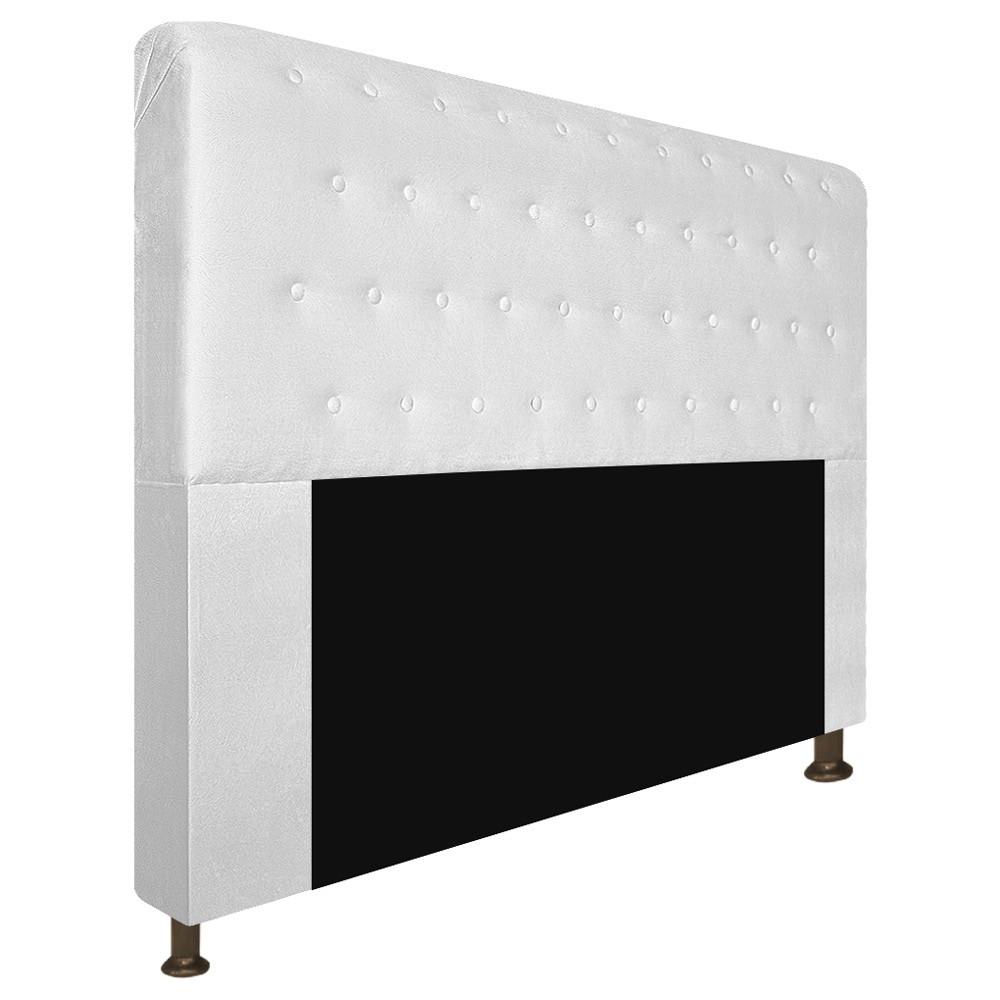 Cabeceira Estofada Brenda 140 cm Casal Com Botonê  Suede Branco - Doce Sonho Móveis
