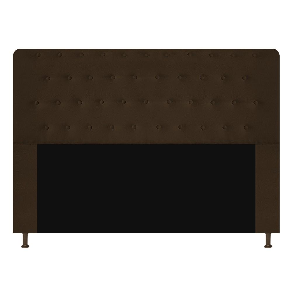 Cabeceira Estofada Brenda 140 cm Casal Com Botonê  Suede Marrom - Doce Sonho Móveis