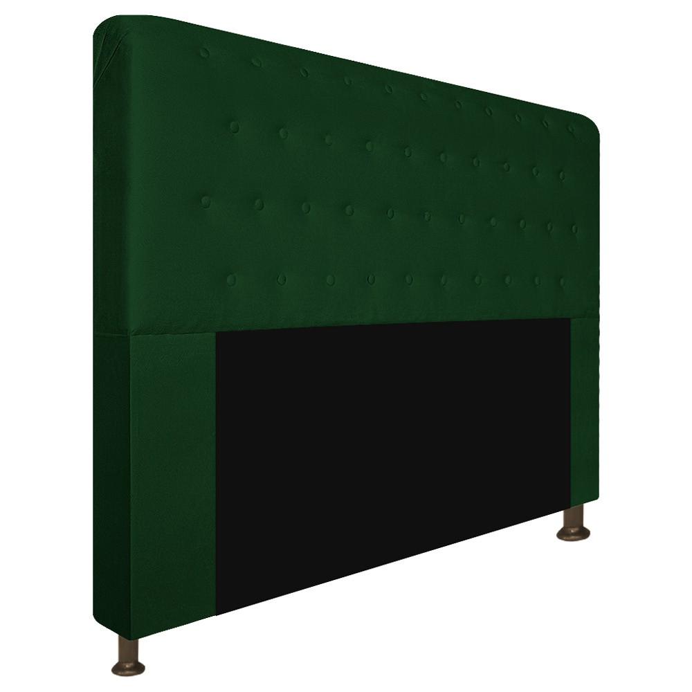 Cabeceira Estofada Brenda 140 cm Casal Com Botonê  Suede Verde - Doce Sonho Móveis