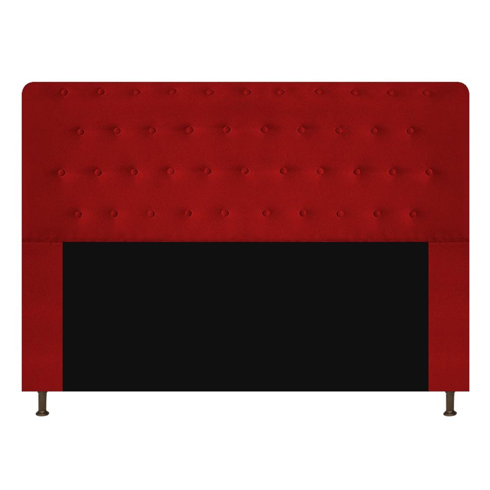 Cabeceira Estofada Brenda 140 cm Casal Com Botonê  Suede Vermelho - Doce Sonho Móveis