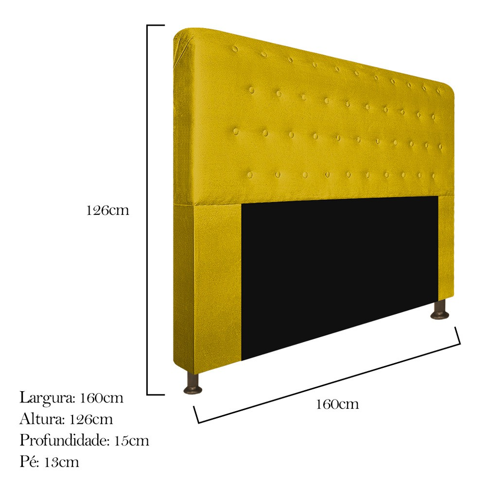 Cabeceira Estofada Brenda 160 cm Queen Size Com Botonê Suede Amarelo - Doce Sonho Móveis