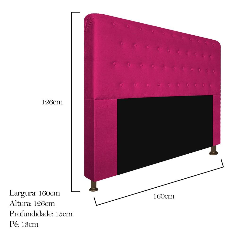Cabeceira Estofada Brenda 160 cm Queen Size Com Botonê Suede Pink - Doce Sonho Móveis
