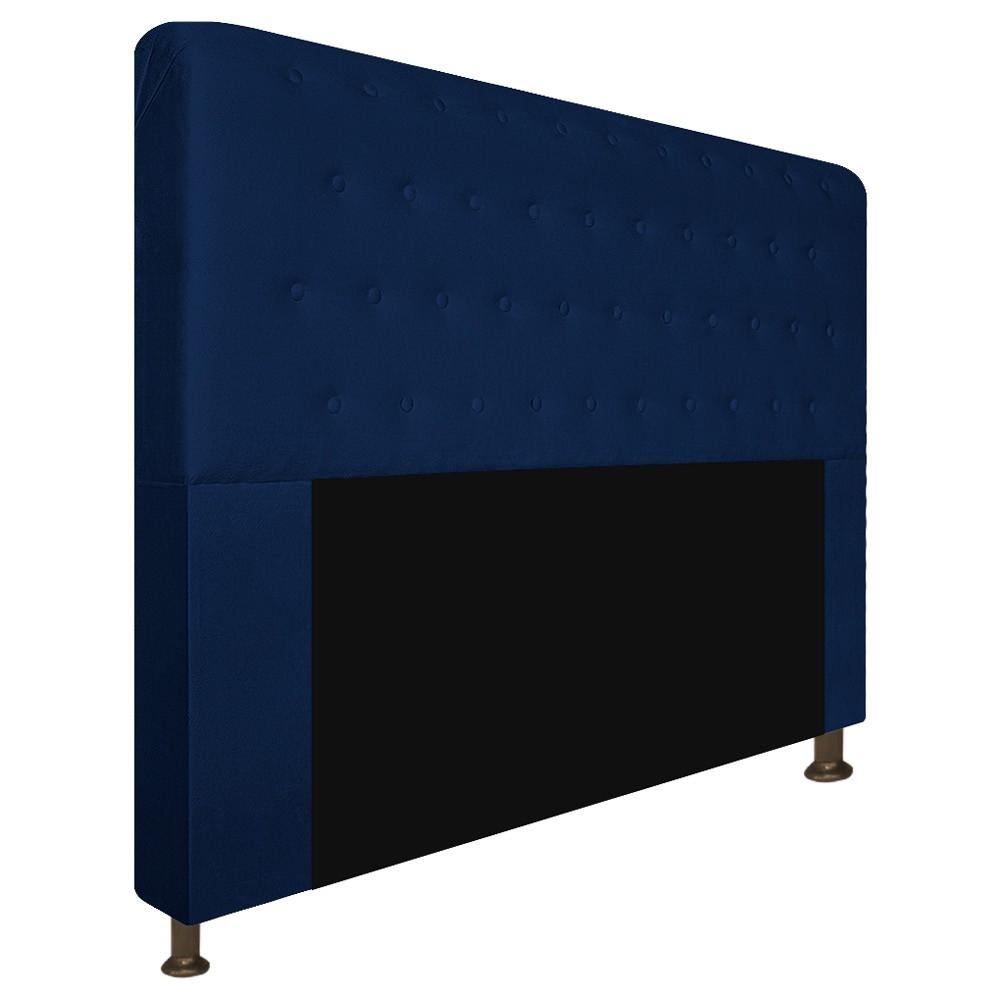 Cabeceira Estofada Brenda 195 cm King Size Com Botonê Suede Azul Marinho - Doce Sonho Móveis