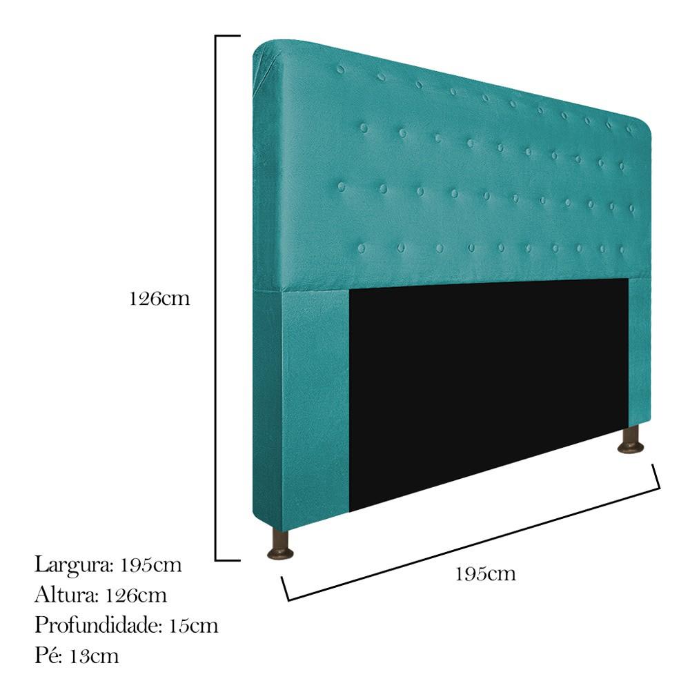Cabeceira Estofada Brenda 195 cm King Size Com Botonê Suede Azul Turquesa - Doce Sonho Móveis