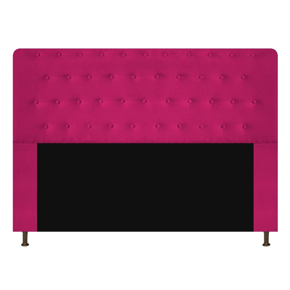 Cabeceira Estofada Brenda 195 cm King Size Com Botonê Suede Pink - Doce Sonho Móveis