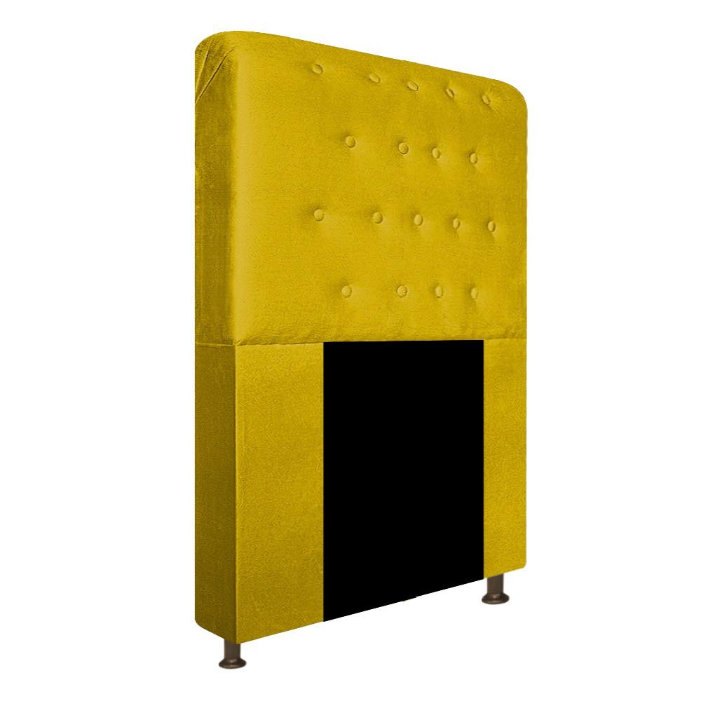 Cabeceira Estofada Brenda 90 cm Solteiro Com Botonê  Suede Amarelo - Doce Sonho Móveis