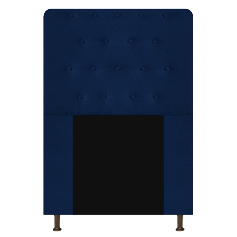 Cabeceira Estofada Brenda 90 cm Solteiro Com Botonê  Suede Azul Marinho - Doce Sonho Móveis