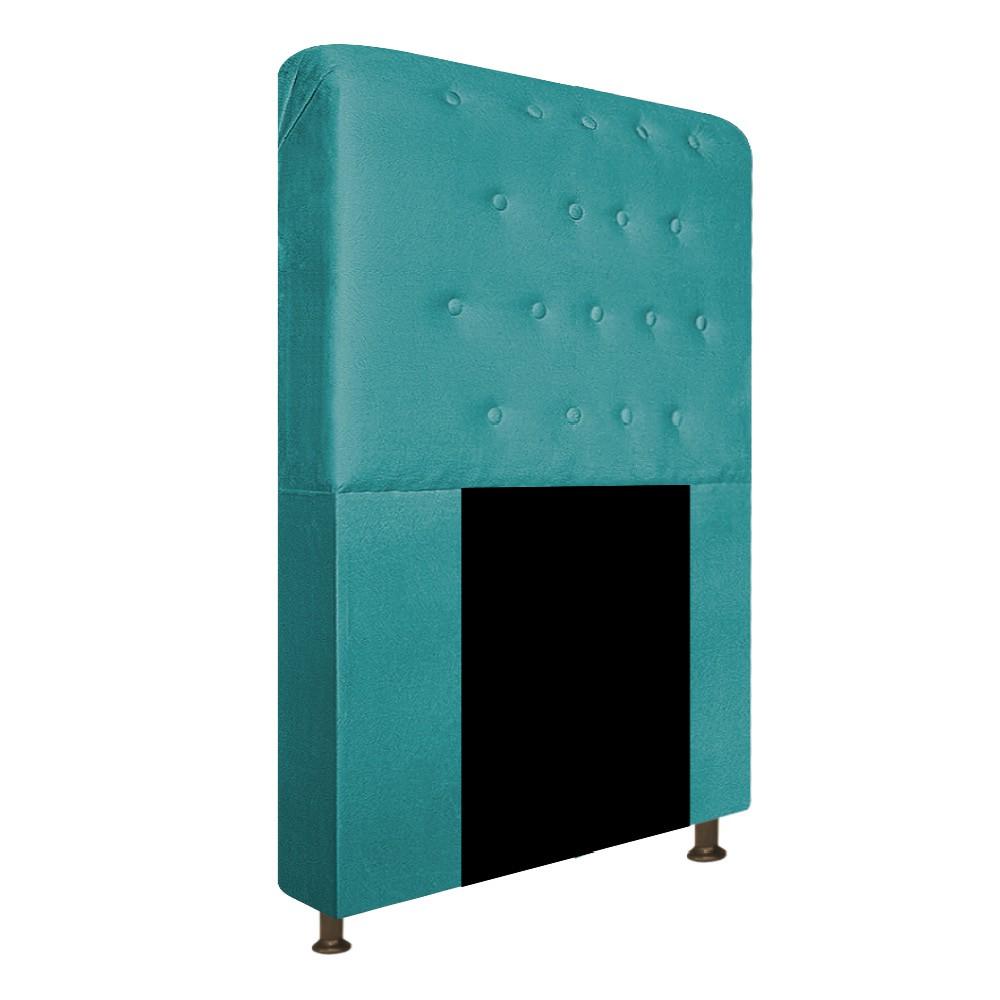 Cabeceira Estofada Brenda 90 cm Solteiro Com Botonê  Suede Azul Turquesa - Doce Sonho Móveis