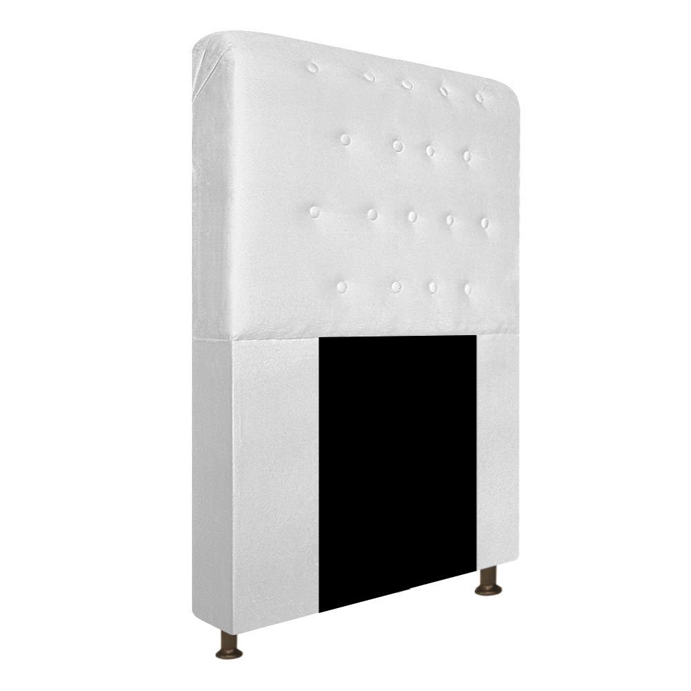 Cabeceira Estofada Brenda 90 cm Solteiro Com Botonê  Suede Branco - Doce Sonho Móveis