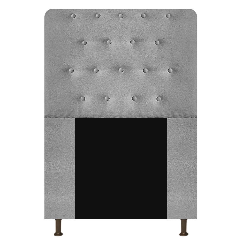 Cabeceira Estofada Brenda 90 cm Solteiro Com Botonê  Suede Cinza - Doce Sonho Móveis