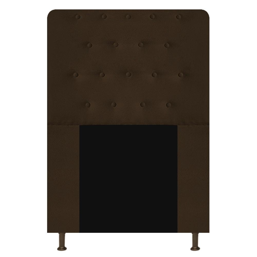 Cabeceira Estofada Brenda 90 cm Solteiro Com Botonê  Suede Marrom - Doce Sonho Móveis
