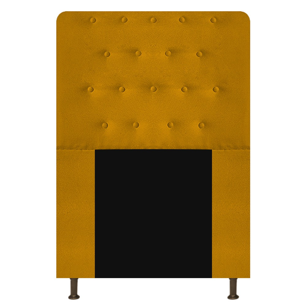 Cabeceira Estofada Brenda 90 cm Solteiro Com Botonê  Suede Mostarda - Doce Sonho Móveis