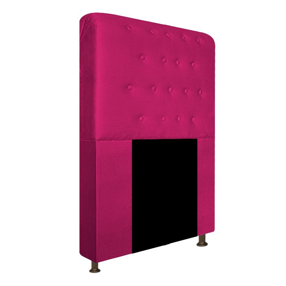 Cabeceira Estofada Brenda 90 cm Solteiro Com Botonê  Suede Pink - Doce Sonho Móveis